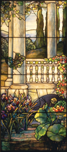 Fig. 3a: Louis Comfort Tiffany (1848–1933), Tiffany Studios (1900–1932), Window Panel, 1908–1912. Leaded glass. H. 70, W. 31-1/4 inches. Gift of Loyalhanna Foundation. Photography by Tom Little. Courtesy, Carnegie Museum of Art (70.47.3). Tiffany windows can lead one into a fantasy world by obscuring the real world hidden beyond opaque glass.