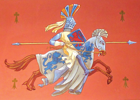 "Fig. 5a: Price used medieval themes like the knight William van Ingen painted on a ceiling of the 1904 George S. Graham house, ""Glenmeade,"" Bryn Mawr, Pa, in many other houses, including the Gilmore house (4a)."