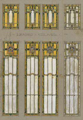 Fig. 7a: The hall window from the 1911 Wheeler house, Indianapolis, Indiana, seems to foretell art deco design, especially as D'Ascenzo first envisioned it on paper (7a). The small arches that march across the centers of the four long panels in the Wheeler window are idiosyncratic devices peculiar to Will and Walter Price and, as such, they may be a measure of the architect's involvement with the design process. 7a: Courtesy and photography, The Athenaeum of Philadelphia; 7b: Courtesy Marian University; photography by Benjamin L. Ross, LEED AP BD+C.