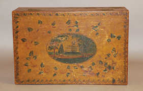 Fig. 10: Detail showing Prior's drawing of the Boston State House on the box seen in figure 7.