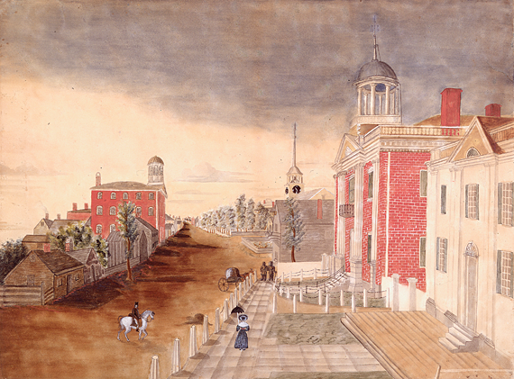 Fig. 1: Attributed to Anna M. Bucknam, Congress Street, Portland in 1824, Portland, Me., 1832 watermark. Watercolor on paper, 14-3/4 x 19-1/2 inches. Courtesy, Maine Historical Society and Maine State Museum (1998.30.1). The city served as the state capital after Maine separated from Massachusetts in 1820 until 1832. The new state house, the white classical building on the right, sits next to the Cumberland County Court House. The Portland Academy, another of the city's notable private schools, is the three-story brick building at left.