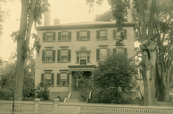 Fig. 2: Photograph of the Storer-Mussey house, Portland, Me., late nineteenth century. Demolished 1962. Courtesy, Maine Historic Preservation Commission. Designed by the Portland architect Alexander Parris (1780–1852) in 1801, Storer's spacious residence was one of the town's finest homes. After Storer lost it following the 1807 embargo, the Martins rented it from the Portland Bank, occupying it for almost ten years until August 1817 when merchant John Mussey bought it. Rachel Lambard painted her table while boarding in this elegant Federal residence.