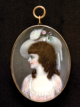 Fig. 3: In the style of George Engleheart, Penelope Martin, daughter of Mrs. William Martin, London, England, circa 1787. Watercolor on ivory in gold mount, 1-13/16 x 1-7/16 inches. Courtesy, Portland Museum of Art, Maine. Bequest of William Martin Payson in memory of the Martin family (1921.19.2).