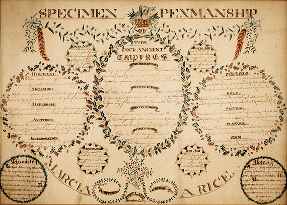 Fig 4: Marcia Adeline Rice (1803–1832), Specimen of Penmanship, Portland, Me., dated November 9, 1819. Pen and ink and watercolor on paper, 23 x 31-1/4 inches. Courtesy, Maine Historical Society (1990.122).