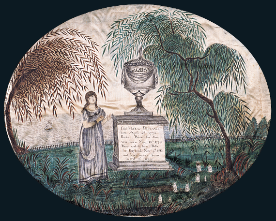 Fig. 5: Attributed to Jane Otis Prior (1803–after May 31, 1880), Mourning Piece for Captain Mathew Prior and His Son Barker, Portland, Me., ca. 1819–1822. Watercolor, pencil and ink on silk, 13-5/8 x 17-7/8 inches. Courtesy, American Folk Art Museum (1992.25.1). Jane's exceptional memorial is dedicated to her father and brother who sailed from Bath, Maine, to England in 1815 and were lost at sea. It probably dates within the final years of her Martin school education.