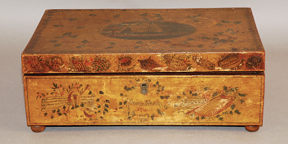 "Fig. 7: Box, decorated by Jane Otis Prior (1803–after May 31, 1880), Portland, Me., dated 1822. Birch, H. 4-3/8, W. 12, D. 7-3/4 in. Courtesy, Maine State Museum, gift of Elizabeth Noyce (1994.119.1). On the front between musical trophies, Prior inscribed the name of her friend and Martin schoolmate, ""Sarah McCobb."" The box is further painted with four landscapes, three of which were based on published prints."