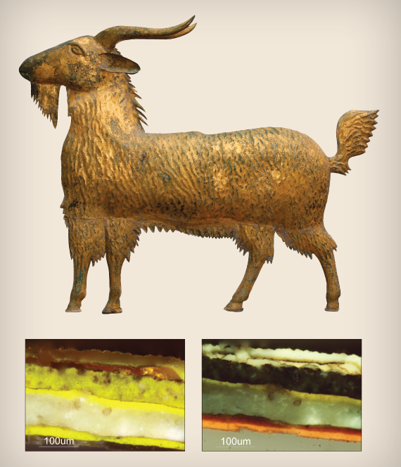 Fig. 1: Goat weathervane, form dating to ca. 1875, unknown maker, possibly Massachusetts, in a gilded finish with verdigris corrosion visible on the upper surface.  INSET: Fig. 2: Goat finish stratigraphy—visible and ultraviolet light images.