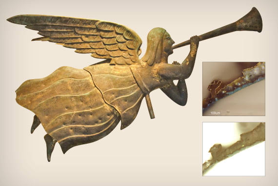 Fig. 5: The angel Gabriel in flight and blowing a trumpet, form prior to 1900. Surface gilded with some blue/green, possibly artificial patina.  INSET: Fig. 6: Angel Gabriel finish stratigraphy—visible and ultraviolet light images.