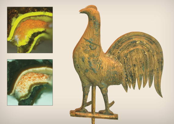 Fig. 3: Cock weathervane with gilded surface and visible small patches of verdigris corrosion, ca. 1880. A popular form, rooster vanes were manufactured by Cushing and Sons, Waltham, Massachusetts, as well as by several other firms.  INSET: Fig. 4: Cock finish stratigraphy—visible and ultraviolet light images.