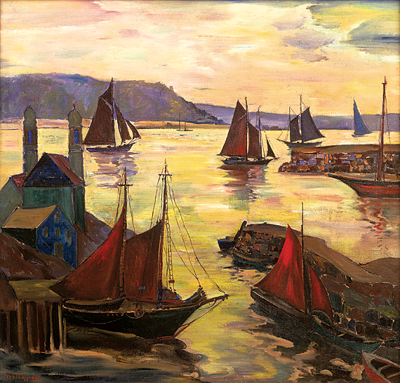 Fern Coppedge (1883-1951),  Red Sails in the Sunset, n.d. Oil on canvas, 38 x 40 inches. Collection of Marguerite and Gerry Lenfest.