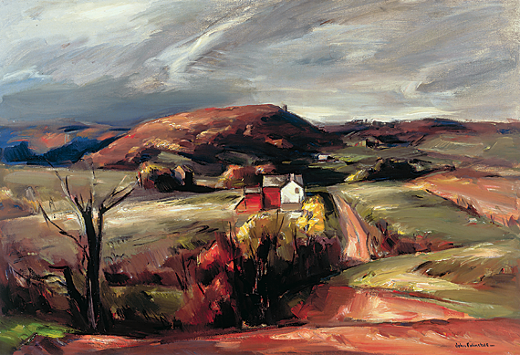 John Fulton Folinsbee (1892–1972),  Bowman's Hill, 1936–37 Oil on canvas, 34 x 50 inches. James A. Michener Art Museum.  Gift of Marguerite and Gerry Lenfest. Copyright 2007 John F. Folinsbee Art Trust.