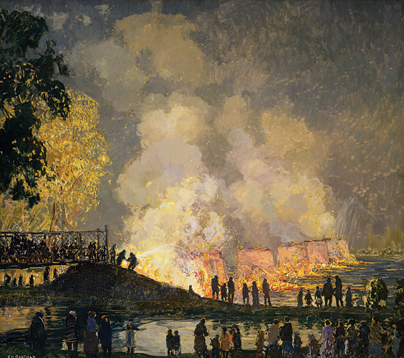 Edward Redfield (1869-1965),  The Burning of Center Bridge, 1923. Oil on canvas, H. 50-1/4 x 56-1/4 inches. James A. Michener Art Museum.  Acquired with funds secured by State Senator Joe Conti, and gifts from Joseph and Anne Gardocki and the Laurent Redfield family.