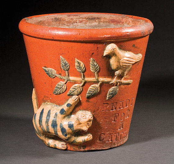 Fig. 4: Flowerpot, attributed to Absalom Bixler (1802–1884) or his brother Jacob Bixler (born ca. 1808), Lancaster County, Pa., ca. 1850–1880. Lead-glazed earthenware. Collection of Robert and Katherine Booth.