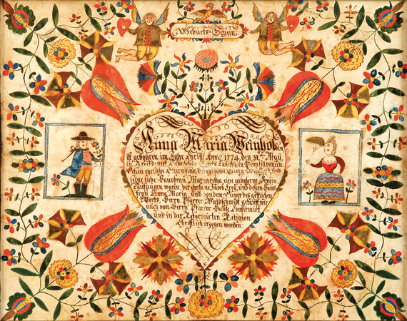 Fig. 1: Birth and baptismal certificate of Anna Maria Weinhold, born May 31, 1774, in Brecknock Township, Berks County, Pa. Attributed to Johann Zug (act. ca. 1780–1800), ca. 1785. Watercolor and ink on laid paper. Private collection.