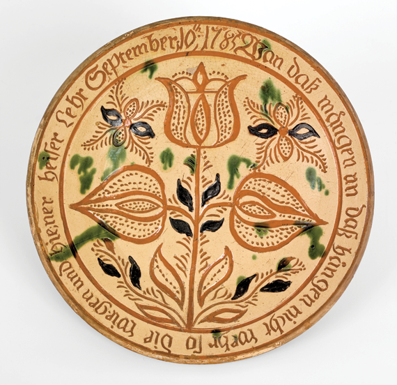 Fig. 3: Plate attributed to George Hubener, Limerick Township, Montgomery County, Pa., 1785. Lead-glazed earthenware. Collection of Robert and Katherine Booth.
