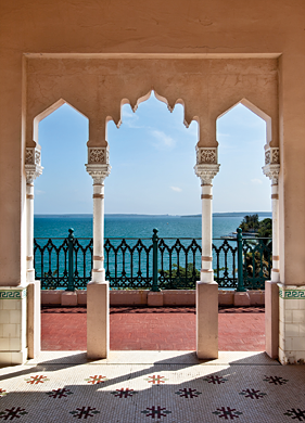View of the Caribbean Sea from the roof of the neo-Mudéjar Palacio del Valle in Cienfuegos.