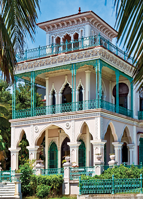 The ostentation of the neo-Mudéjar 1912 Palacio del Valle in Cienfuegos reflects the vast fortune acquired by its owner the sugar planter Aclicio Valle.