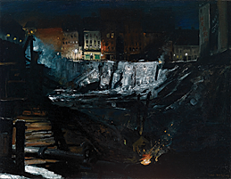 George Wesley Bellows. Excavation at Night, 1908. Oil on canvas, 34 x 44 inches.