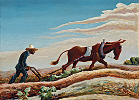 Thomas Hart Benton. Ploughing It Under, 1934, reworked 1964. Oil on canvas, 20-1/4 x 24-1/4 inches