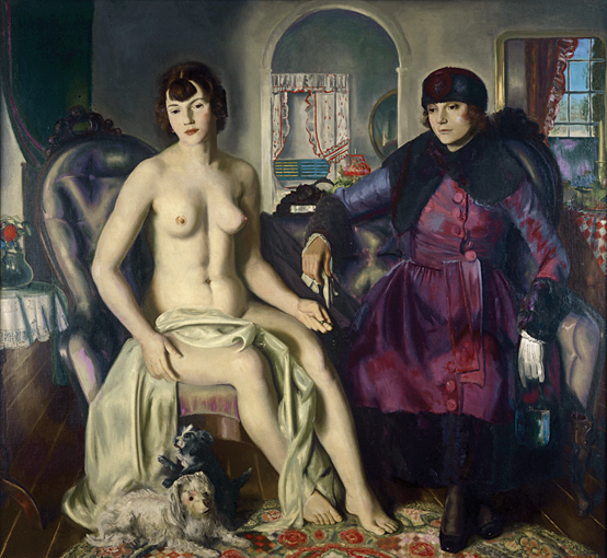 Fig. 2: George Wesley Bellows (American, 1882–1925), Two Women, 1924 Oil on canvas, 57 x 60 in. Portland Museum of Art, Maine, Lent by Karl Jaeger,  Tamara Jaeger, and Karena Jaeger (26.2004) © Bellows Trust