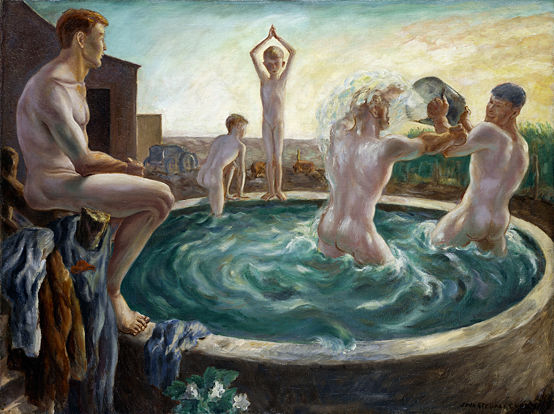 Fig. 6: John Steuart Curry (American, 1897–1946), The Bathers, circa 1928 Oil on canvas, 30-1/8 x 40-1/8 in. The Nelson-Atkins Museum of Art, Kansas City, Missouri, Purchase: Acquired with a donation in memory of George K. Baum II by his family, G. Kenneth Baum, Jonathan Edward Baum, and Jessica Baum Pasmore, and through the bequest of Celestin H. Meugniot. © Estate of John Steuart Curry. Photo: Jamison Miller.