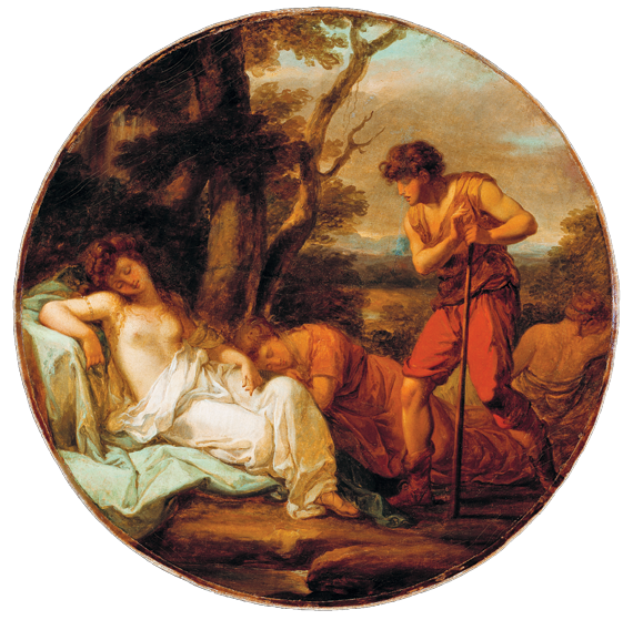 Fig. 2: Angelica Kauffman (1741-1807),  Cymon and Iphigenia, ca. 1780.  Oil on canvas, 32-3/4 x 32-3/4 inches.  Gibbes Museum, Charleston, S.C., Gift of Alicia Hopton Middleton (1937.005.0015).