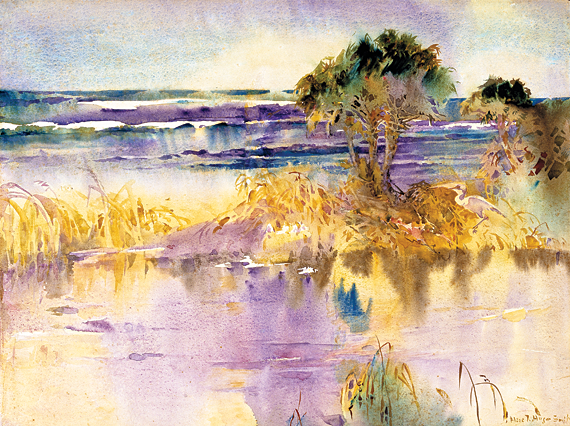 Fig. 4: Alice Ravenel Huger Smith (1876-1958),  A Lagoon by the Sea, from the series A Carolina Rice Plantation of the Fifties, ca. 1935.  Watercolor on paper, 17 x 21-5/8 inches. Gibbes Museum, Charleston, S.C., Gift of the artist (1937.009.0030).