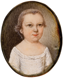 Fig. 3: Mary Roberts (d. 1761), Unidentified sitter, ca. 1755. Watercolor on ivory, 1-1/8 x 1 inches. Gibbes Museum, Charleston, S.C., Bequest of Mrs. Amelia Josephine Emanuel (1939.009.0001).