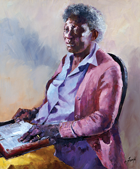 Fig. 9: Virginia Fouche Bolton (1929-2004),  Blessed Are They That Mourn  for They Shall Be Comforted, ca. 1988.  Oil on canvas, 43 x 37 inches.  Gibbes Museum, Charleston, S.C.  Gift of the artist, in memory of her husband, Donald Gail Bolton. (2001.026).