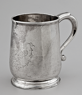 Cann, Lucus Stoutenburgh (1691–1743), engraving attributed to Joseph Massey (d. 1736), Charleston, South Carolina, ca. 1719–1729. Silver. H. 4-3/8 in. Courtesy, MESDA Purchase Fund (2033.2).