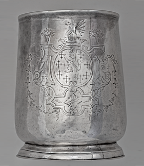 Detail of engraving on silver cann.