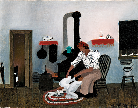 Fig. 7: Horace Pippin (1888–1946) Saying Prayers, 1943 Oil on canvas, 16 x 20-1/8 inches Collection of Brandywine River Museum, Museum Purchase, 1980, The Betsy James Wyeth Fund.