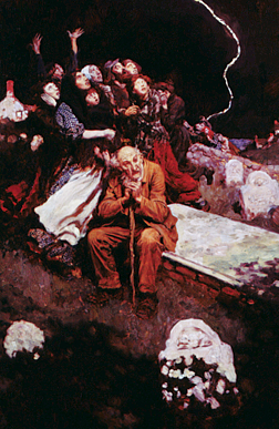 "Fig. 4: Howard Pyle (1853–1911) They Stood Staring at the Violent Sky, 1905 Illustration for Mrs. Henry Dudenay, ""An Amazing Belief,"" Harper's New Monthly, April 1905 Oil on canvas, 24 x 16-1/4 inches Collection of Brandywine River Museum."