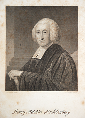 Fig. 8: Engraved by James W. Steel after Charles Willson Peale (1741–1827), Portrait of Henry Melchior Muhlenberg (1711-1787), in William B. Sprague, Annals of the American Pulpit; or Commemorative Notices of Distinguished American Clergymen of Various Denominations, vol. 9 (New York: Robert Carter & Brothers, 1869).Courtesy, Lutheran Theological Seminary at Philadelphia, Pa.