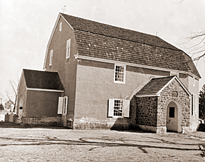 Fig. 2: Augustus Lutheran Church, Trappe, Pa., built 1743. The oldest extant German Lutheran church in Pennsylvania, Augustus has survived in remarkably unaltered condition and is a National Historic Landmark. The exterior stucco is a later addition, first applied in 1814.