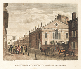 Fig. 5: New Lutheran Church, in Fourth Street Philadelphia, drawn and engraved by William Russell Birch (1755-1834) and Thomas Birch (1779-1851), 1799. From Birch's Views of Philadelphia (Philadelphia: W. Birch, 1800). Zion was torn down in 1869, and St. Michael's in 1872. Courtesy, Rare Book Department, Free Library of Philadelphia, Pa.