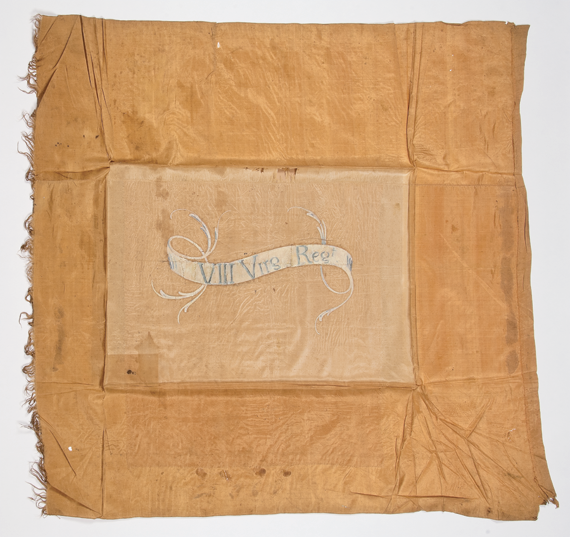 Fig. 7: Flag of the Eighth Virginia Regiment, ca. 1776-1778. Silk; paint. H. 41-1/4, W. 45. Originally salmon in color, this is one of only about thirty extant Revolutionary War flags. Private collection. Photograph courtesy, Winterthur Museum.