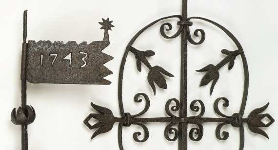 Fig. 3: Weathervanes from Augustus Lutheran Church, Trappe, Pa., 1743. Iron. (Right): H. 42, W. 29. (Left): H. 29, W. 12. Courtesy, Augustus Lutheran Church, Trappe, Pa.