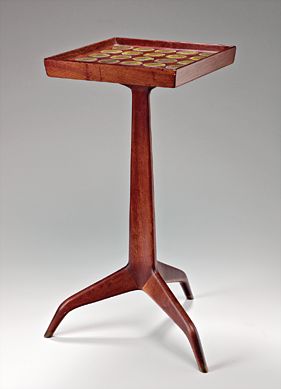 Fig. 4: Gertrud Natzler, ceramist; Otto Natzler, ceramist; Edward Wormley, designer; Dunbar Furniture Company, manufacturer, Table, ca. 1957. Wood and glazed ceramic tile. 23 x 11 x 11 in. (60.3 x 28.6 x 28.6 cm). Forrest L. Merrill Collection.