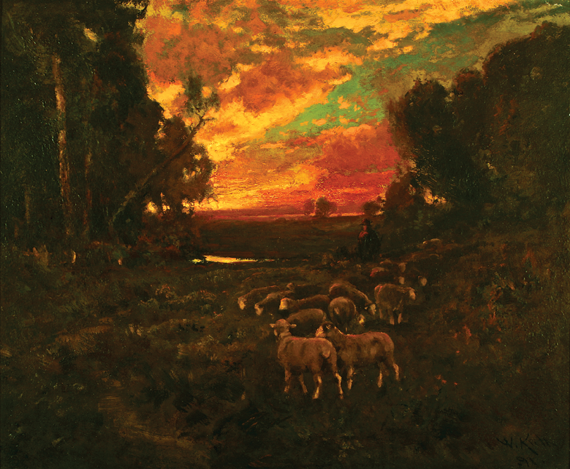 Fig. 8: William Keith (1838–1911), Evening Glow, 1891. Oil on panel, 23-3/4 x 28-1/4 inches. Saint Mary's College, Moraga, Calif., gift of Celia Tobin Clark.