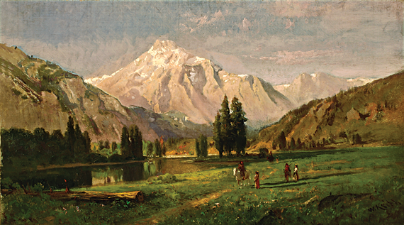 Fig. 2: William Keith (1838–1911),  Glacial Meadow and Lake, High Sierra (Tuolumne Meadows), 1870s. Oil on canvas, 14-1/4 x 26 inches.  Saint Mary's College, Moraga, Calif., gift of Dr. William S. Porter.