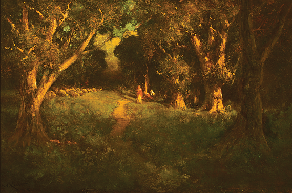 Fig. 9: William Keith (1838–1911), Grand Forest Interior, ca. 1900s. Oil on canvas, 24-1/4 x 36-1/4 inches. Saint Mary's College, Moraga, Calif., gift of Mr. and Mrs. Albert T. Shine Jr.