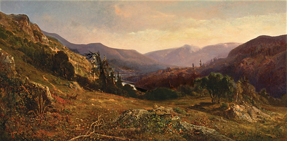 Fig. 6: William Keith (1838–1911), Russian River Panorama, 1876. Oil on canvas, 36 x 72 inches. Saint Mary's College, Moraga, Calif., gift of Harmon Edwards.