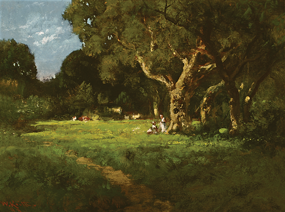 Fig. 7: William Keith (1838–1911), Secluded Grove, 1898. Oil on canvas, 12-1/4 x 16-1/4 inches. Saint Mary's College, Moraga, Calif., college purchase.