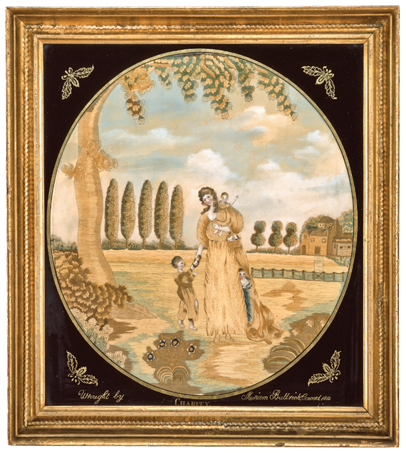 Silk and oil paint on silk needlework picture of Charity worked by Miriam Buttrick (b. 1796), in 1812, perhaps at Mrs. Rowson's Academy, Medford, Mass. Anonymous gift; Gift of Neil and Anna Rasmussen; Gift of George and Lisa Foote; Gift of the Cummings Davis Society; Anonymous Gift; Gift of Barbara Elliott; Gift of Seymour A. DiMare and Paula Hatfield DiMare; Gift of Randy and Sue Rettberg (1998.22). Photograph by David Bohl.