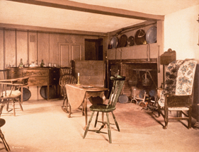 Fig. 2: Wallace Nutting's 1912 view of the interior of the Reuben Brown House following a reinstallation undertaken in 1907.