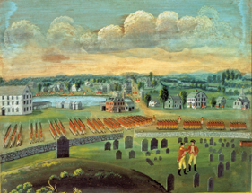 Fig. 1: Attributed to Timothy Martin Minot (1757-1837) after Amos Doolittle's 1775 view, A View of the Town of Concord, April 19, 1775, ca. 1825. Oil on canvas, 29-1/2 x 38-1/2 inches. Bequest of Mrs, Stedman Buttrick, Sr. Concord Museum Collection (Pi414).