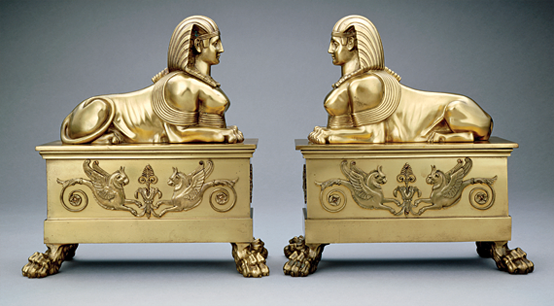 Andirons, France, ca. 1902. Brass. U.S. Government purchase, 1902.