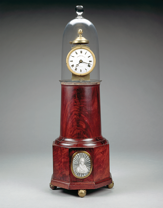 Shelf clock, Simon Willard & Son, Roxbury, Mass., ca. 1825. Mahogany. Gift of Mr. and Mrs. A. H. Meyer, 1961.