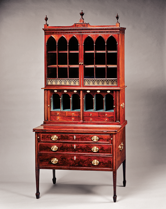 Desk and bookcase, Thomas Seymour (1771–1848), probably with John Seymour (about 1738–1818), Boston, ca. 1798–1808. Mahogany. Gift of an anonymous donor and the White House Historical Association, 1974.